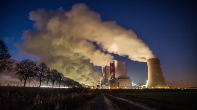 coal power plant at night - tracking shot time lapse - coal fired power station stock videos and b-roll footage