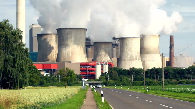 coal power plant close to the street - synthpop stock videos & royalty-free footage