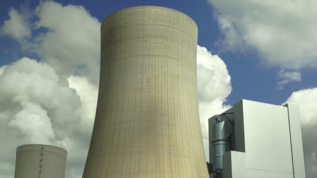 coal power plant emissions (time lapse) - cooling tower stock videos & royalty-free footage