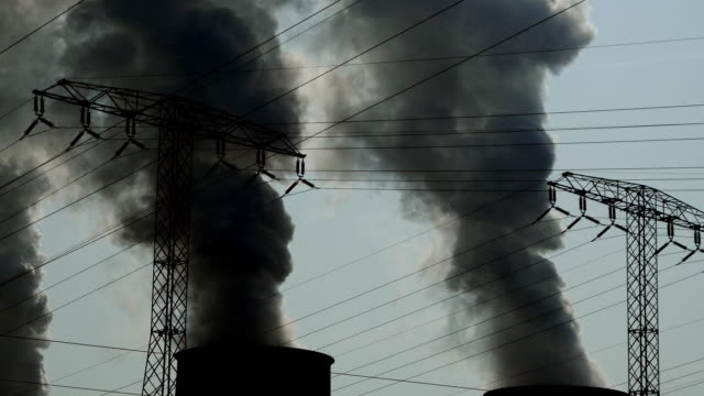 coal power plant fumes rising up - smog video stock e b–roll