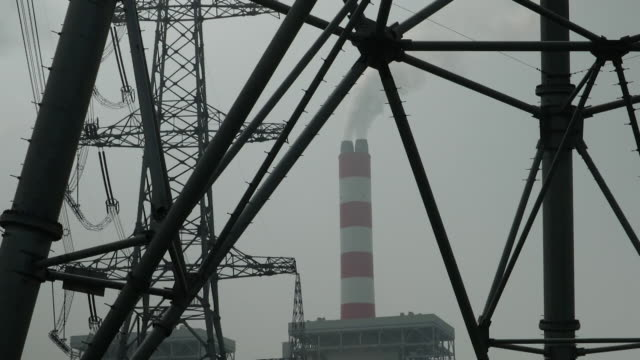 coal power station and electricity pylons, china - electricity pylon stock videos & royalty-free footage
