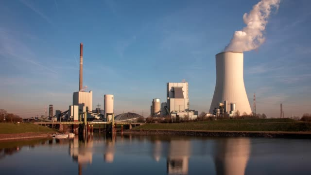 coal power station timelapse - cooling tower stock videos & royalty-free footage
