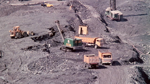 montage coal production through surface mining / wales, united kingdom - coal mine stock videos and b-roll footage