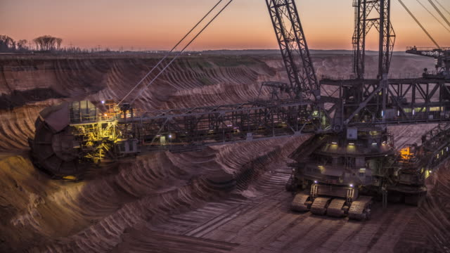 coal surface mine with giant bucket wheel excavator - biggest stock videos & royalty-free footage