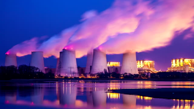 coal-fired power plant in the night, time lapse - coal stock videos and b-roll footage