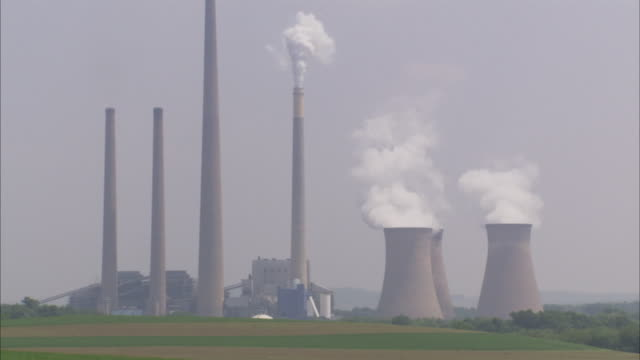 ws coal-fired power plant / pittsburgh area, pennsylvania, usa - coal fired power station stock videos and b-roll footage