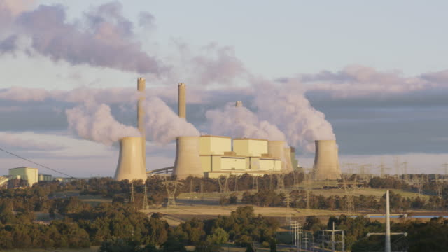 ms a coal-fired power station at sunset / traralgon, australia - coal fired power station stock videos & royalty-free footage