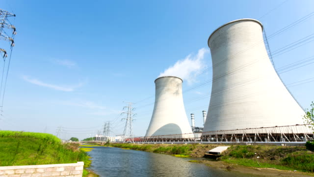 coal-fired power station with blue sky