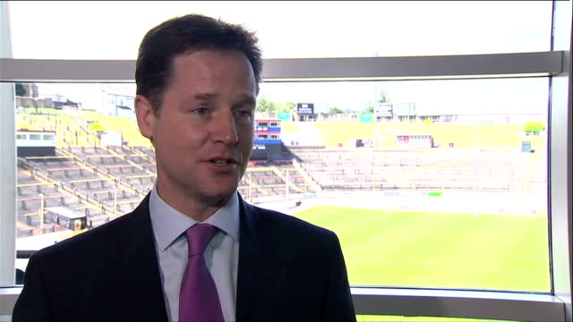 coalition cabinet away day nick clegg mp interview sot we're meeting as a coalition government for the first time outside london to underline the... - time of day stock videos and b-roll footage
