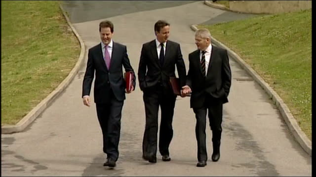 stockvideo's en b-roll-footage met coalition cabinet 'away day' to bradford ministers arriving england west yorkshire bradford grattan stadium ext david cameron mp arriving by car with... - william hague