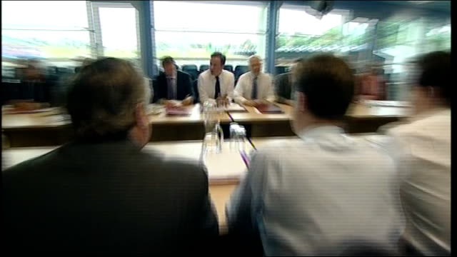 coalition cabinet 'away day' to bradford roundtable meeting england west yorkshire bradford grattan stadium photography ** cabinet meeting in session... - round table discussion stock videos & royalty-free footage