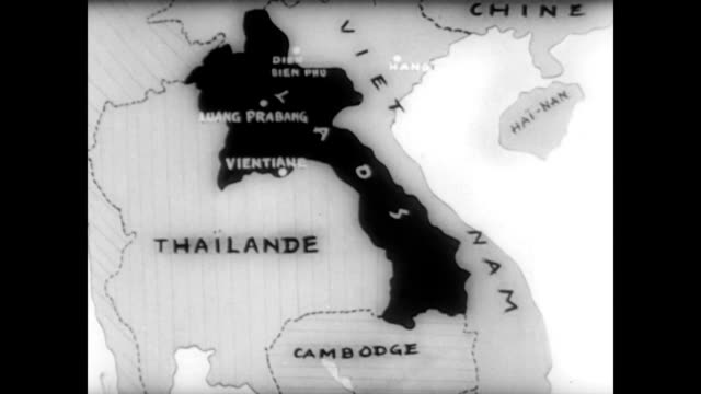coalition government meets in laos / aerial of laos / graphic map of laos and region / airplane landing / soldiers removing bags of supplies from... - 1962年点の映像素材/bロール
