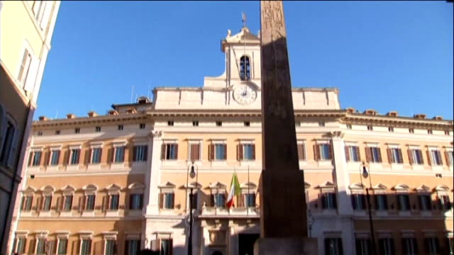 stockvideo's en b-roll-footage met coalition government on verge of collapse; italy: rome egyptian obelisk in piazza di montecitorio - obelisk