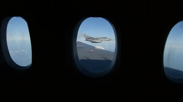raf aircraft refuel in tornado aircraft flying alongside raf tanker aircraft performing midair refuelling operation / raf tornado aircraft flying at... - mid distance stock videos & royalty-free footage