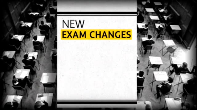 coalition row over government plans to replace gcses graphicised sequence school children sitting exams and new exam changes graphic overlaid - general certificate of secondary education stock videos & royalty-free footage