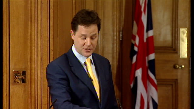 coalition to change planned nhs reforms; r21121005 downing street: int nick clegg speaking at press conference sot - if you look at lib dem... - bureaucracy stock videos & royalty-free footage