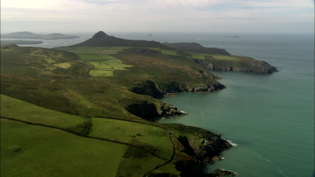coast around abereiddi bay  - aerial view - wales, county of pembrokeshire, united kingdom - pembrokeshire stock videos and b-roll footage