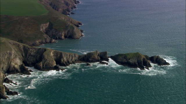 coast around solva  - aerial view - wales, county of pembrokeshire, united kingdom - pembrokeshire stock videos and b-roll footage