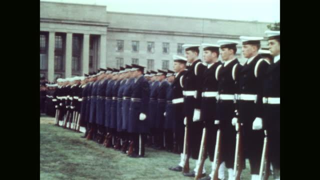 cu coast guard air force and military band - segretario della difesa video stock e b–roll