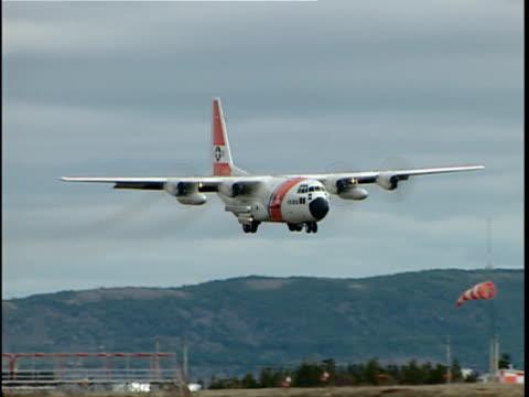 Ms Pan Us Coast Guard C130 Hercules Landing On Runway International