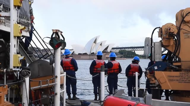 us coast guard cutter stratton arrives in sydney australia as part of the ship's western pacific patrol - coast guard stock videos and b-roll footage