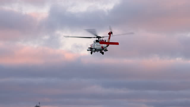 coast guard helicopter taking off into the sky - editorial stock videos & royalty-free footage