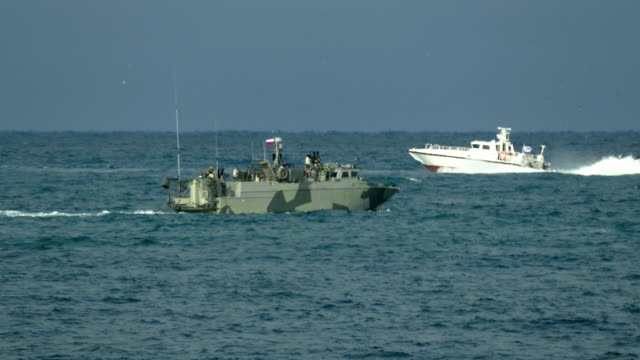 coast guard military boats patrolling at sea - coast guard stock videos & royalty-free footage