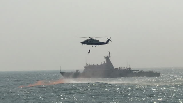 coast guard operation - helicopter stock videos and b-roll footage