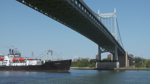 Coast Guard ship travels under the Triborough Bridge along the East River.