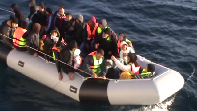 coast guard team rescue immigrants in aegean sea marmaris district of mugla turkey on november 5 2014 a boat carrying sixty illegal immigrants from... - marmaris stock videos & royalty-free footage