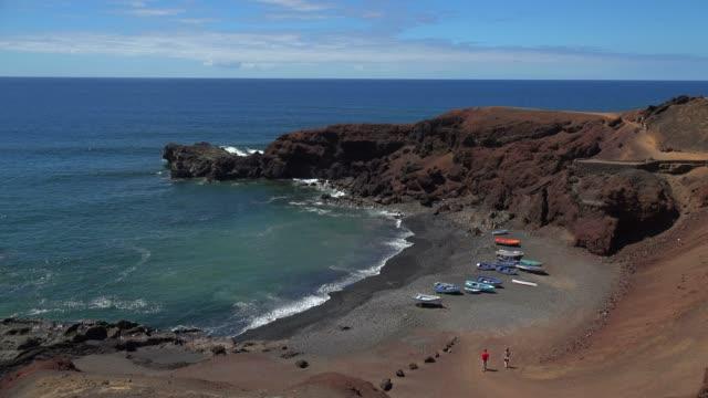 coast near el golfo, lanzarote, canary islands, spain, atlantic, europe - atlantic islands stock videos & royalty-free footage