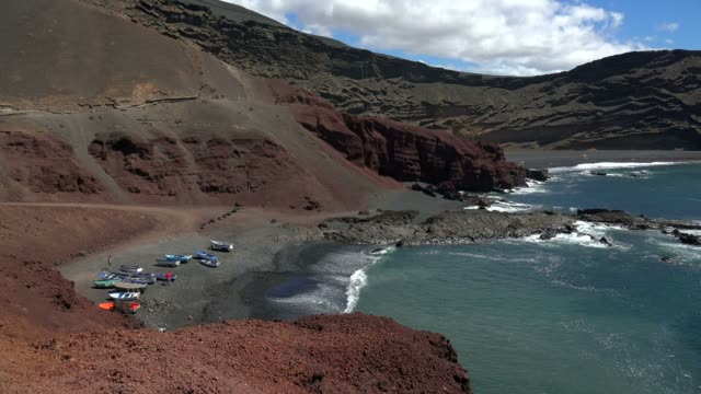 coast near el golfo, lanzarote, canary islands, spain, atlantic, europe - atlantic islands stock videos & royalty-free footage