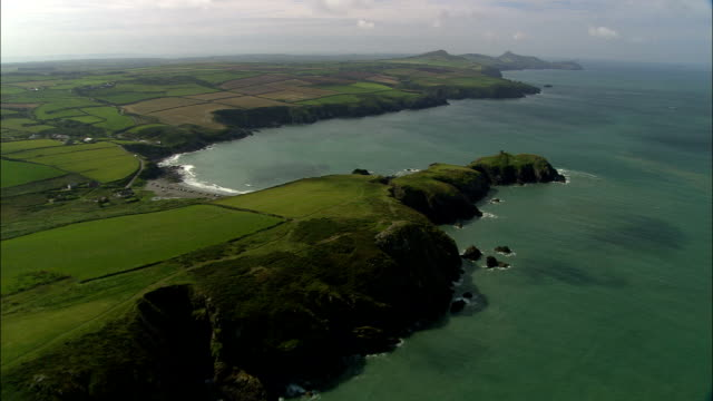 coast near porthgain  - aerial view - wales, county of pembrokeshire, llanrhian, united kingdom - valley stock videos & royalty-free footage