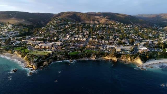 coast of laguna beach california at sunset - laguna beach california stock videos & royalty-free footage