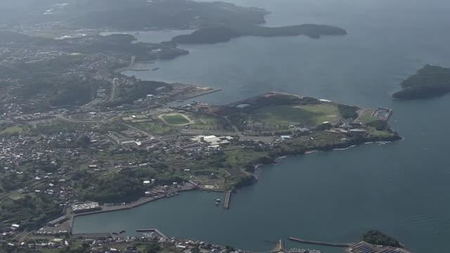 aerial, coast of minamata city, kumamoto, japan - satoyama scenery stock videos & royalty-free footage