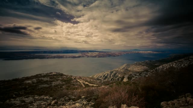 coast view, island pag, croatia - mare adriatico video stock e b–roll