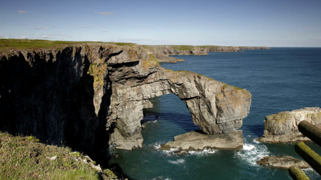 """""""coastal arch, timelapse"""" - pembrokeshire stock videos & royalty-free footage"""