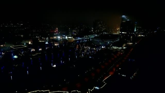 Coastal city in northern Germany at night