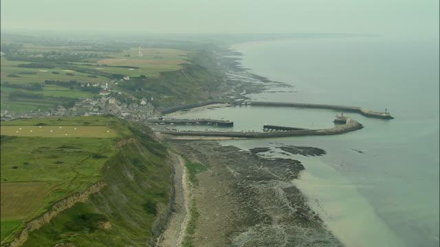 AERIAL, Coastal cliffs and Sainte-Honorine-des-Pertes, Normandy, France