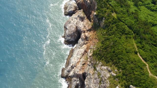 coastal cliffs of cheongsando island / wandogun, jeollanam-do, south korea - bergsvägg bildbanksvideor och videomaterial från bakom kulisserna