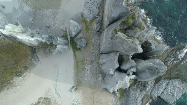 coastal hotokegaura rocks in japan, overhead aerial - aomori prefecture stock videos & royalty-free footage