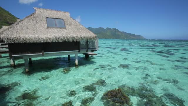 vídeos de stock e filmes b-roll de coastal huts in tahiti, pan left - polinésia francesa