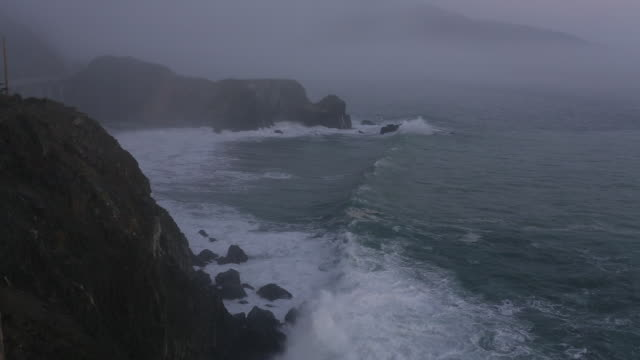 a coastal landscape from highway one in big sur on the california coast line. - north pacific stock videos & royalty-free footage