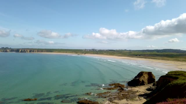 coastal landscape in brittany, france in summer - bretagna video stock e b–roll
