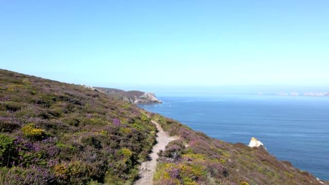 vidéos et rushes de paysage côtier en bretagne, france en été - littoral