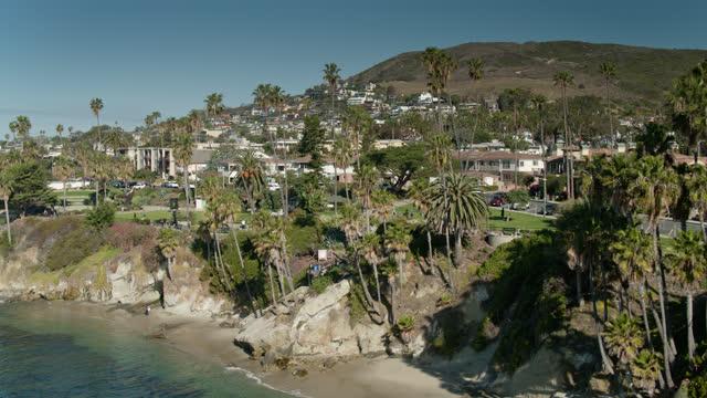 coastal palm trees and housing in laguna beach, california - aerial - laguna beach california stock videos & royalty-free footage