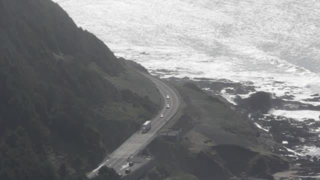 Coastal road along mountainside