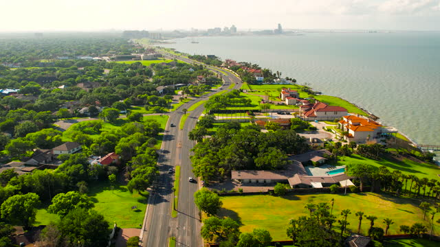 coastal road along the gulf of mexico coastline to corpus christ, texas - corpus christi texas stock videos & royalty-free footage