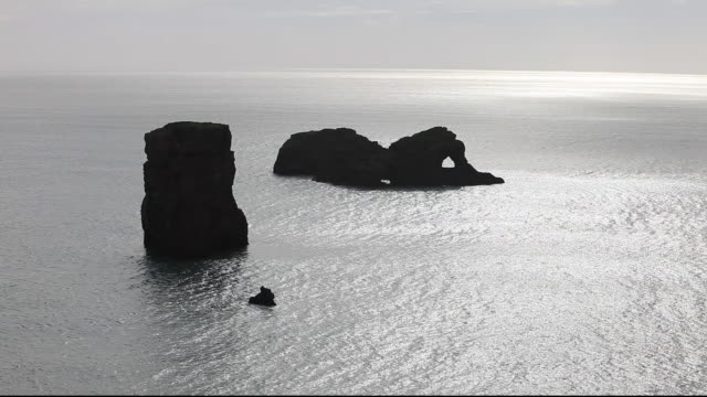 coastal scenery at dyrholaey near vik on iceland's south coast, with fulmar's soaring on the updraught - dyrholaey stock videos & royalty-free footage