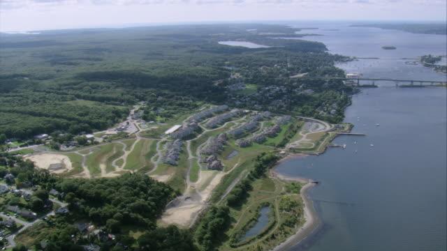 AERIAL Coastal small city on Mount Hope Bay / Rhode Island, United States